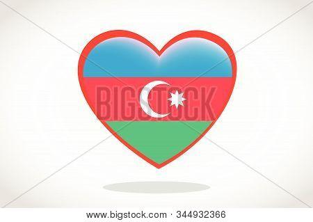 Azerbaijan Flag In Heart Shape. Heart 3d Flag Of Azerbaijan, Azerbaijan Flag Template Design.