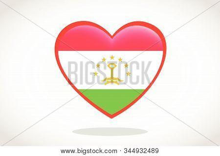 Tajikistan Flag In Heart Shape. Heart 3d Flag Of Tajikistan, Tajikistan Flag Template Design.