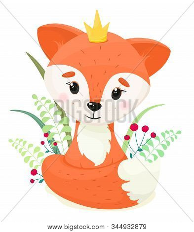 Cute cartoon fox with a crown and vegetation on a white background. Vector illustration in cartoon style.