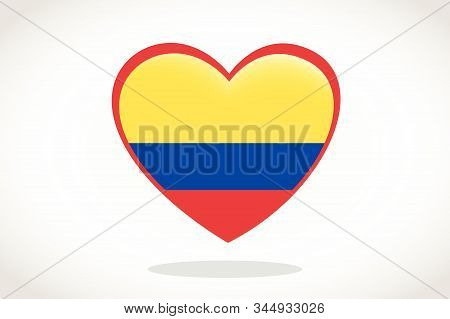Colombia Flag In Heart Shape. Heart 3d Flag Of Colombia, Colombia Flag Template Design.