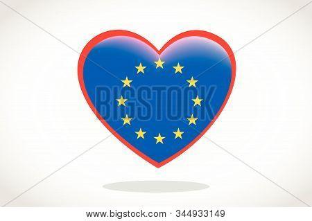 European Union Flag In Heart Shape. Heart 3d Flag Of European Union, European Union Flag Template De