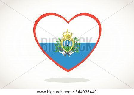 San Marino Flag In Heart Shape. Heart 3d Flag Of San Marino, San Marino Flag Template Design.