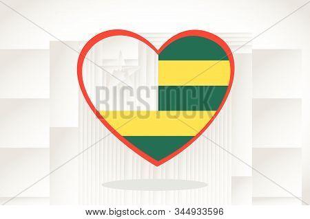 Togo Flag In Heart Shape. Heart 3d Flag Of Togo, Togo Flag Template Design.