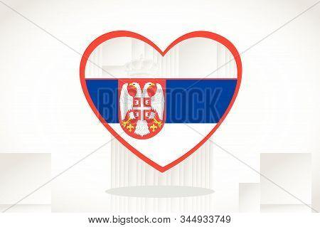 Serbia Flag In Heart Shape. Heart 3d Flag Of Serbia, Serbia Flag Template Design.