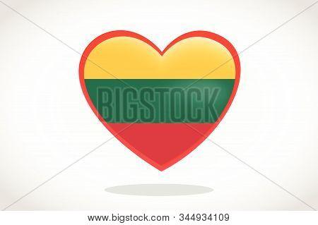 Lithuania Flag In Heart Shape. Heart 3d Flag Of Lithuania, Lithuania Flag Template Design