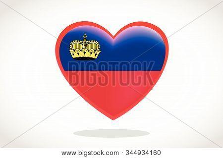 Liechtenstein Flag In Heart Shape. Heart 3d Flag Of Liechtenstein, Liechtenstein Flag Template Desig