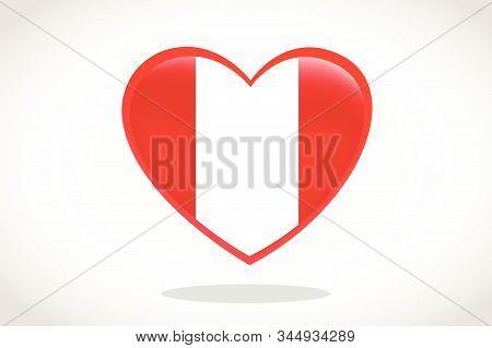Peru Flag In Heart Shape. Heart 3d Flag Of Peru, Peru Flag Template Design