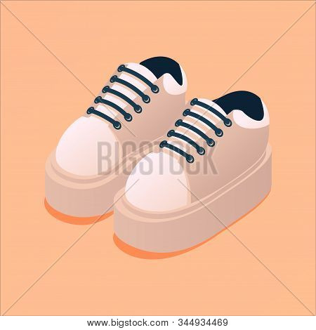 Sport Shoes Isometric. Bold Platform Women Or Unisex Sneakers On Peach Background. Nude Beige Fashio