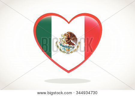 Mexico Flag In Heart Shape. Heart 3d Flag Of Mexico, Mexico Flag Template Design