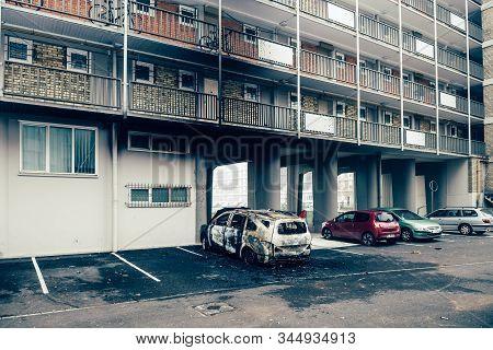 Strasbourg, France - Jan 1, 2020: Rear View Of Burnt Car As Vandals In Strasbourg, France, Marked Th