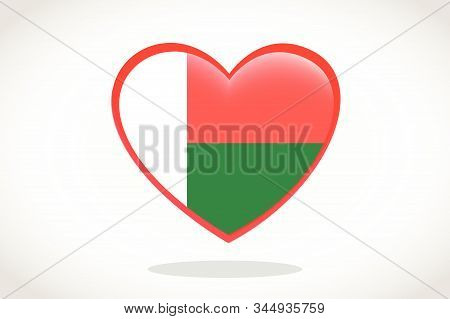 Madagascar Flag In Heart Shape. Heart 3d Flag Of Madagascar, Madagascar Flag Template Design