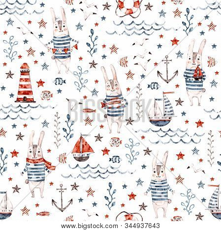 Sailor hand painted bunny. Cute watercolor nautical seamless pattern with rabbit and marine elements for textile, paper and backgrounds. Use for print, t shirt template, fashion wear. Surface design poster