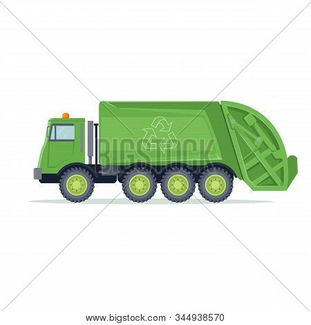 Garbage Truck. Trash, Waste And Rubbish Transporting Machine For Recycle. Vector