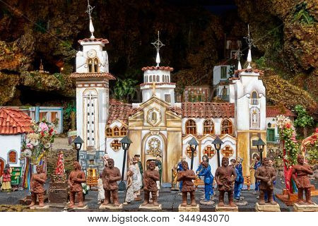 Candelaria, Tenerife, Spain - December 12, 2019: Christmas Belen -  Statuettes of people and houses in miniature
