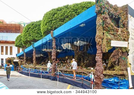 Candelaria, Tenerife, Spain - December 12, 2019: Christmas Belen in Candelaria