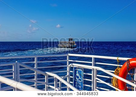 The Tender Boat At Blue Sea To Beach On Half Moon Cay Island At Bahamas. Blue Water