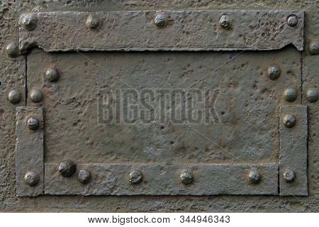 Military Industry Greeting Card Background Steel Metal Body, Rivets And Bolts Army Tank Armored Pers