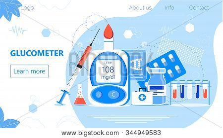 Glucometer For Measuring Sugar Level Of Diabetics. Blood Glucose Testing Meter, Tiny Doctors. Type 2