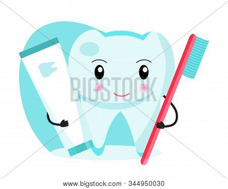 Funny Tooth Is Holding A Toothbrush And Toothpaste. National Dental Hygienemonth, Week, Day. Dentist