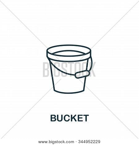 Bucket Icon From Cleaning Collection. Simple Line Element Bucket Symbol For Templates, Web Design An