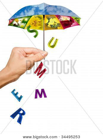Background with hand, summer umbrella and letters