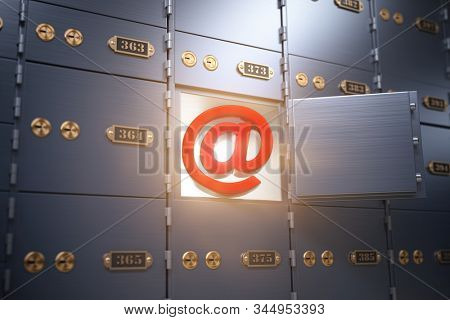 E-mail security and protection internet concept. Sign of email with safe deposit box. 3d illustration