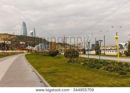 Baku, Azerbaijan - November 14, 2019: Colored Lanterns Along The Footpath On The Embankment Of The C