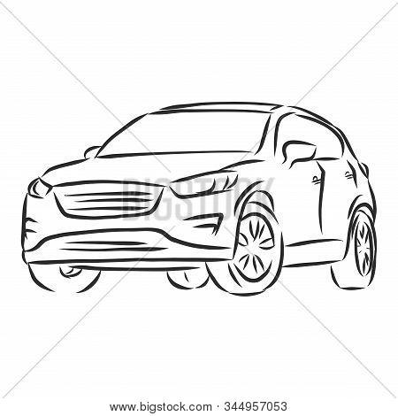 Car Concept. Car Sketch.vector Hand Drawn. Autodesign. Automobile Drawing.