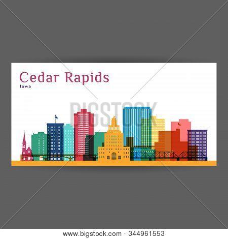 Cedar Rapids Colorful Architecture Vector Illustration, Skyline City Silhouette, Skyscraper, Flat De