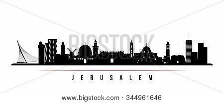 Jerusalem Skyline Horizontal Banner. Black And White Silhouette Of Jerusalem, Israel. Vector Templat