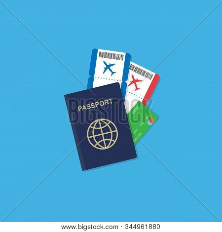 Vector Passport With Tickets And Credit Card Inside. Air Travel Concept. Flat Design Citizenship Id