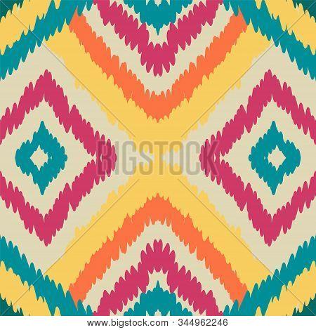 Red Chevron Vector Seamless Pattern. Ethnic Fashion Tile Wallpaper. Cobalt Textile Batik Ornament. B