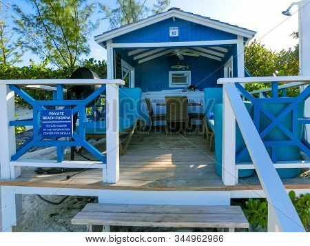 Half Moon Cay, Bahamas - December 02, 2019:colorful Tropical Cabanas Or Shelters On The Beach Of Hal