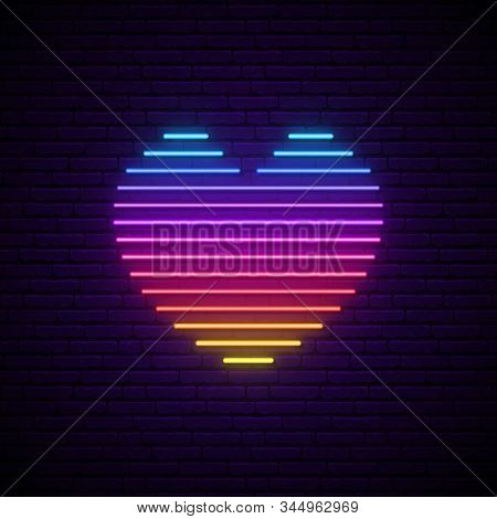 Bright Vector Neon Heart. Rainbow Lines In A Heart Form Isolated On The Dark Brick Wall With Backlig