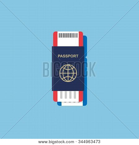 Vector Passport With Tickets Inside. Air Travel Concept. Flat Design Citizenship Id For Traveler Iso