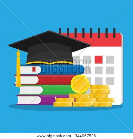 Student Loan For Persecution. Concept Of Scholarship Or Timely Tuition Fee. Calendar In The Backgrou