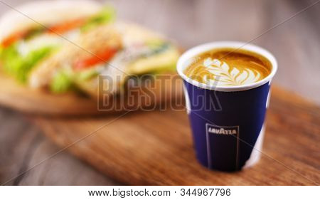 Poznan, Poland - Dec 17, 2019: Cup Of Lavazza Coffee, A Brand Owned By An Italian Manufacturer Of Co