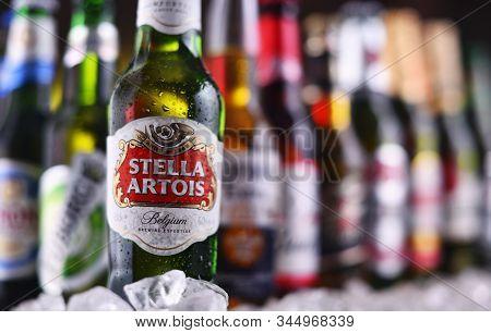 Poznan, Pol - Dec 23, 2019: Bottles Of Famous Global Beer Brands Including Heineken, Becks, Bud, Mil