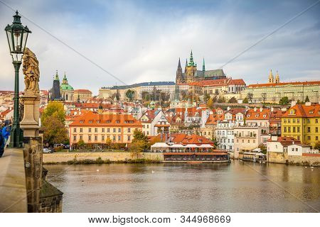 Prague, Czech Republic - 6.11.2019: Prague Castle Over River Vltava In November Day In Prague, Czech