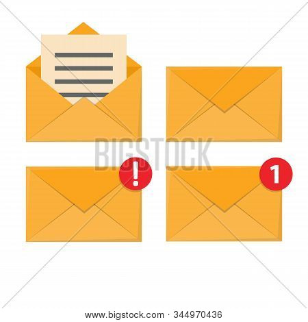 Letter In Mail Envelope. Mailbox Notification Or Email Message Icons Receiving Mms Closed Post Lette
