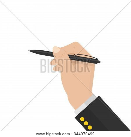 Black Ballpoint Pen In Human Hand. Stock Vector Illustration Isolated On White Background In Cartoon
