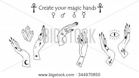 Occultism Set With Gothic Tattoo Hands And Mystery Symbols - Cross, Eye Of Horus, Crystal,ankh, Snak