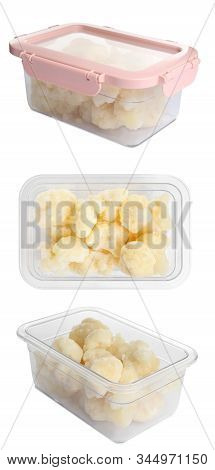 Frozen Cauliflower Florets In Plastic Containers On White Background. Vegetable Preservation