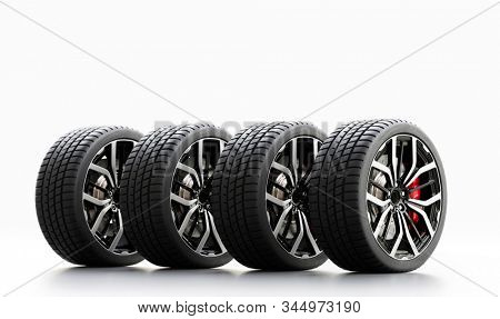 Set of wheels with modern alu rims on white background - banner composition. 3D illustration