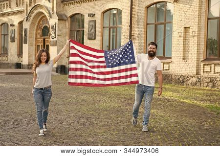 Belonging To American Nation. Happy Citizens Celebrating Independence Day. American Citizens Holding