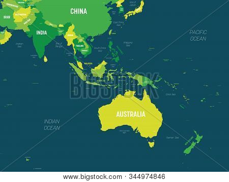 Australia And Southeast Asia Map - Green Hue Colored On Dark Background. High Detailed Political Map
