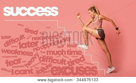 Motivated Young Woman Running By Drawn Stairs To White Success Lettering, Pink Background, Sport Mot