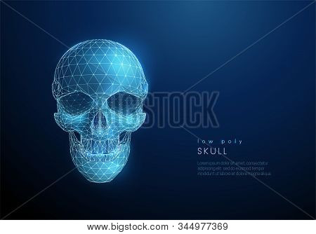 Abstract Human Skull. Low Poly Style Design