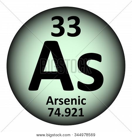 Periodic table element arsenic icon on white background. Vector illustration. poster