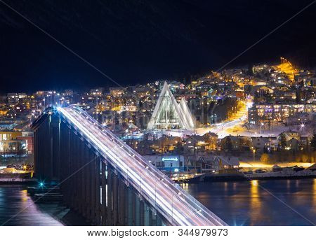 View On Tromso Bridge And Arctic Cathedral At Polar Night, Tromso, Northern, Norway